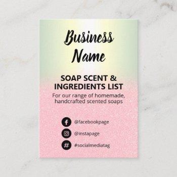 glitter & holographic soap scent ingredients list business card