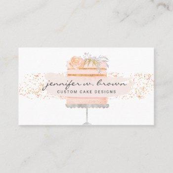 glitter orange floral cake elegant bakery business card