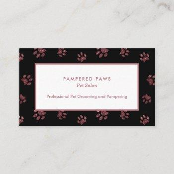 glitter paw prints rose gold pink black pet salon business card