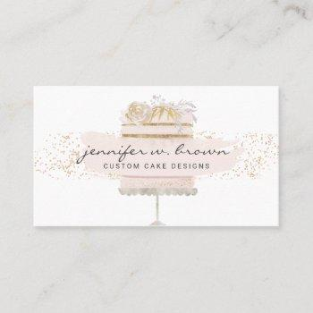 glitter pink cake floral bakery pastry patisserie business card