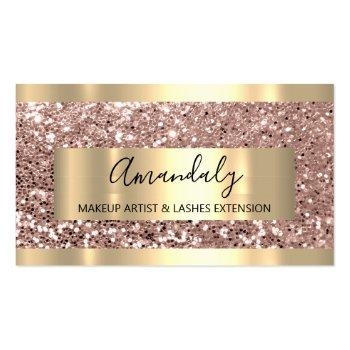 Small Glitter Rose Gold Frame Event Planner Luminous Business Card Front View