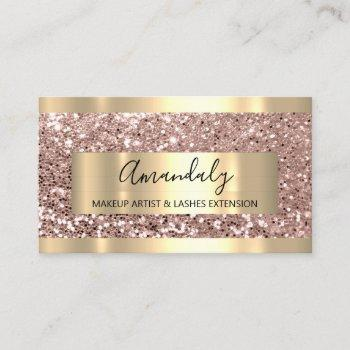 glitter rose gold frame event planner luminous business card