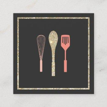 glitter spoon whisk spatula bakery catering logo square business card