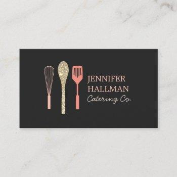 glitter spoon whisk spatula logo on black business card