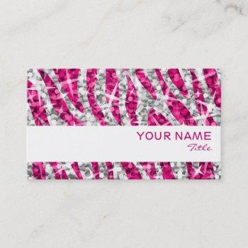 glitz zebra pink business card white stripe