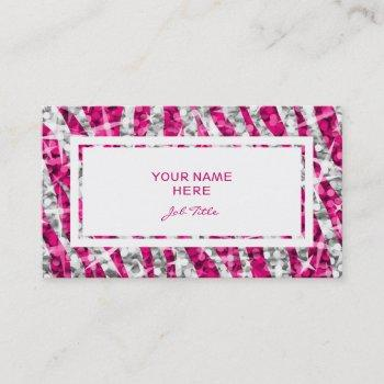 glitz zebra pink rectangle business card white