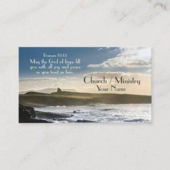 god of hope, romans 15:13 bible verse, irish coast business card