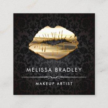 gold 3d lips damask makeup artist beauty salon square business card