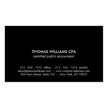 Small Gold Abstract Numbers For Accountants, Accounting Business Card Back View