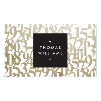 Small Gold Abstract Numbers For Accountants, Accounting Business Card Front View