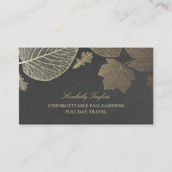 gold and chalkboard fall leaves elegant business card