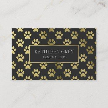 gold and charcoal paw print pattern | dog walker business card