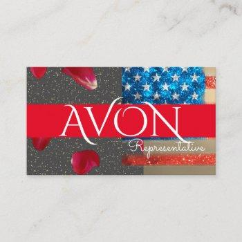 gold and roses patriotic american flag avon business card