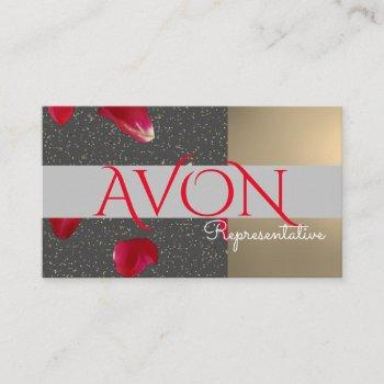 gold and roses personalized avon business card