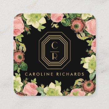 gold art deco monogram vintage florals black square business card