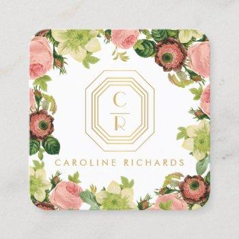 gold art deco monogram vintage florals square business card