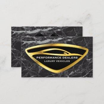 gold auto car logo | black marble luxury business card