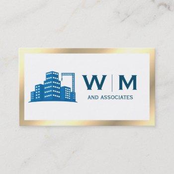 gold border construction monogram business card