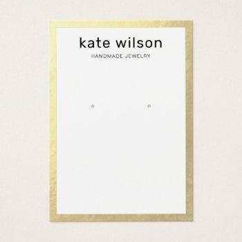 gold border earring display card