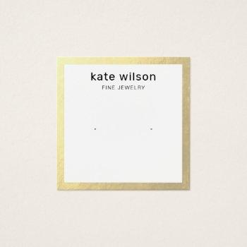 gold border stud earring display card