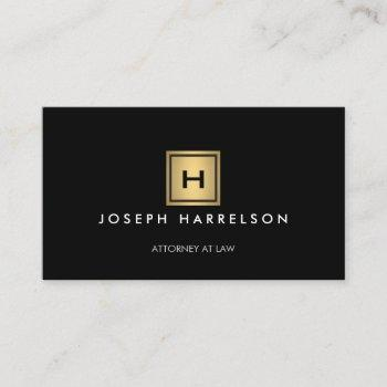 gold box logo with your initial/monogram on black business card