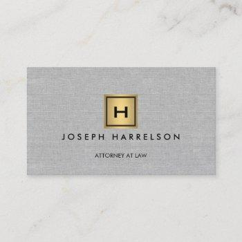 gold box logo with your initial/monogram on linen business card