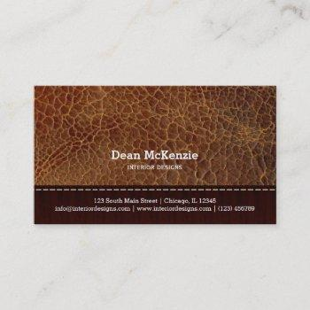 gold brown leather look interior design business card