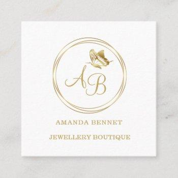 gold butterfly, circle frame feminine monogram square business card