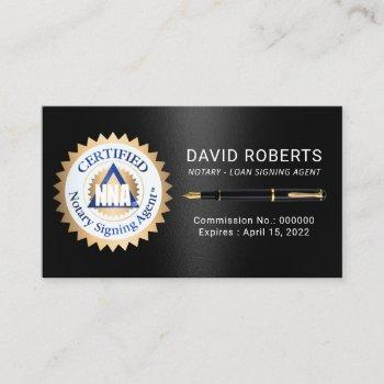 gold certified notary signing agent dark metal  business card