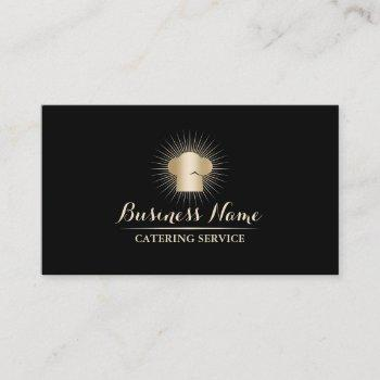 gold chef hat personal chef catering service business card