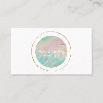 gold circular mint green opal design business card