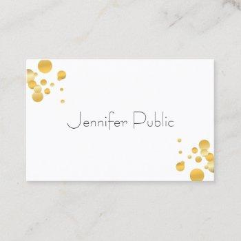 gold confetti modern elegant simple template business card