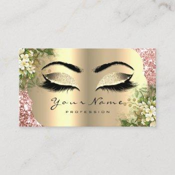 gold damask makeup artist lashes floral mint pink business card