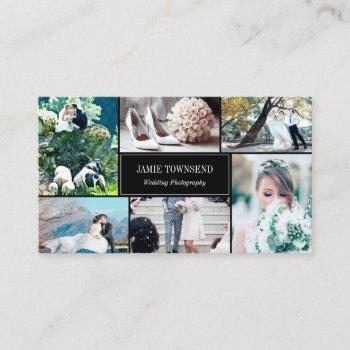 gold dots black photo collage photographer business card