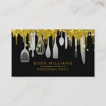 gold drips catering personal chef kitchen utensils business card
