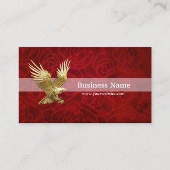 gold eagle in velvet red business card