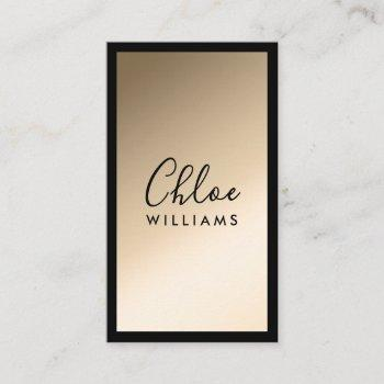 gold elegant chic ombre gradient black script business card