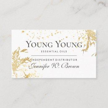 gold essential oils yl floral yellow business card