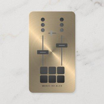 gold faux dj business card