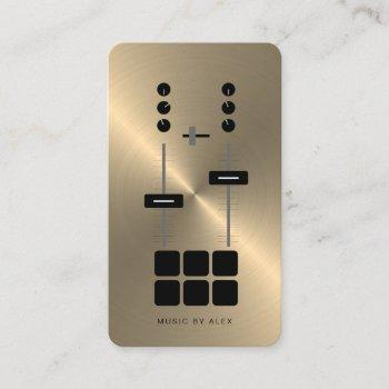 gold faux dj business card | modern professional