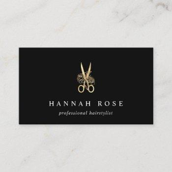 gold floral scissors logo hairstylist business card