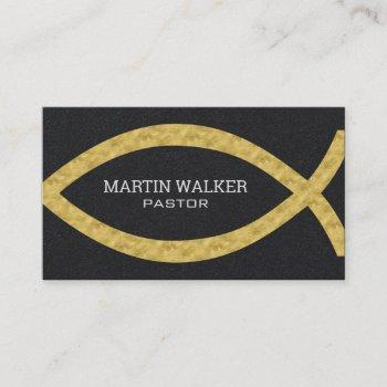 gold foil christian fish religious business card