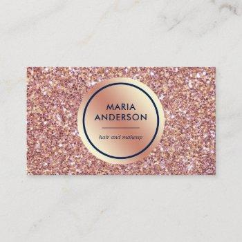 gold foil circle rose gold sequins glitter makeup business card