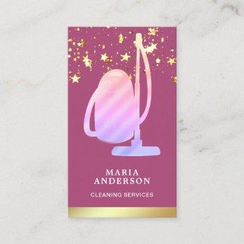 gold foil pink vacuum cleaner cleaning services business card