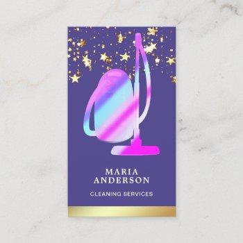 gold foil purple vacuum cleaner cleaning services business card