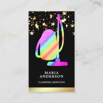 gold foil rainbow vacuum cleaner cleaning services business card
