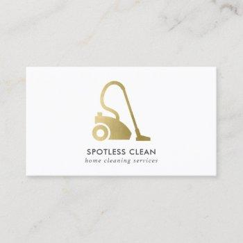 gold foil simple vacuum cleaner cleaning service business card