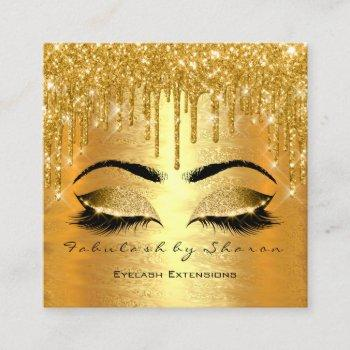 gold foil  spark makeup artist lashes logo lux square business card