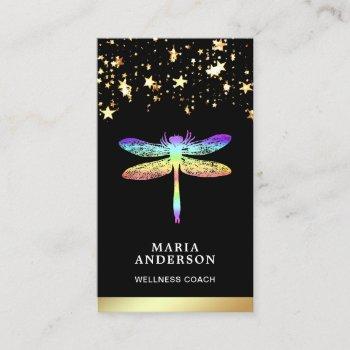 gold foil stars confetti rainbow dragonfly business card