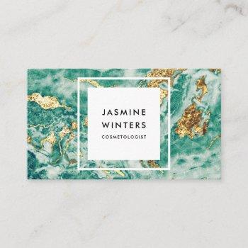 gold foil turquoise marble watercolor chic glamour business card